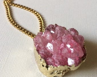 SUMMER SALE Chunky Pink 24 K Gold Druzy Necklace on Thick Antique Gold Faceted Chain
