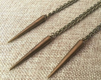 SUMMER SALE Long Bronze Spike Necklace / Black Spike Pendant on Bronze Cable Chain / Mens Necklace / Mens Jewelry / Spike Necklace / Long Ne