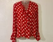 Minnie Mouse Vintage Red Polka Dot Button Up Blouse, Size 8, Retro 80s Vintage Fashion, Cute Pin Up Style Rockabilly Dita Betty Page