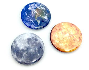 """Sun, Moon, & Earth Pinback Button Set - 1"""" Planetary Solar System Pin Pack - Lunar Sol Terra Astronomy Space Fashion"""