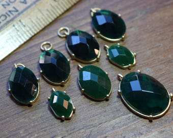 Green and Gold Earring and Pendants Faceted Cabochon Dark Forest Green Charms Matte Gold Settings