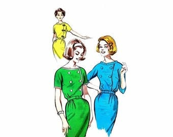 SALE 1960s Womens Double Breasted Wiggle Dress Butterick 9655 Vintage Sewing Pattern Misses Sheath Dress Size 18 Bust 38