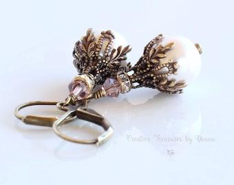 Brass Earrings, Light Pink Pearls, Swarovski Crystals, Pink Crystals, Rhinestone Spacers, Victorian Earrings, Valentine's Earrings