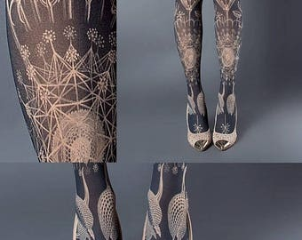 SALE///endsAug22/// Tattoo Tights, Marine Life Tights nude Closed Toe one size full length printed tights, pantyhose, nylons, tattoo socks