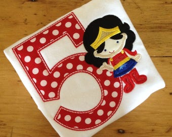 Wonder Woman Inspired Cutie birthday Appliquéd Tee Your choice of number or letter