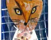 Fancy Fox Original Folk Art Painting on Repurposed Vintage Book Cover