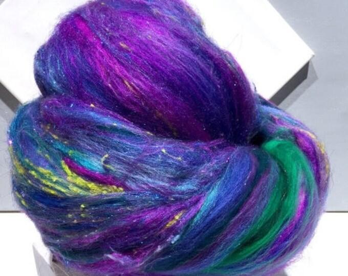 "Featured listing image: Tour De Fleece SALE fiber art batt, felting wool, spinning fiber, Roving, ""Delphinium"" purple blue lavender teal green turquoise aqua fuchsi"