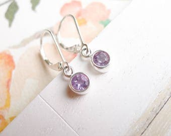 Amethyst Drop Earrings Leverbacks February Birthstone Jewelry Faceted Gemstone Gift Handmade Sterling Silver Dangle