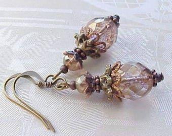 Copper Earrings Orange Earrings Copper Pearl Bridesmaids Earrings Steampunk Earrings Victorian Earrings Civil War Earrings Steampunk Jewelry