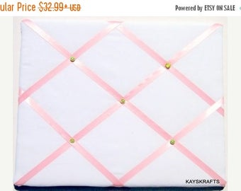 Eclipse Sale White And Pink Memory Board French Memo Board, Fabric Photo Board, Fabric Ribbon Memo Bulletin Board, Ribbon Pin Board,  New Ba