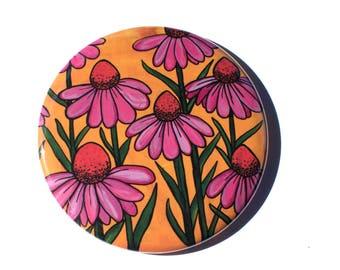 Coneflower Pin - Cone Flower Magnet - Coneflowers Mirror - Gift for Gardener - Gardening Gift - Flower Lover