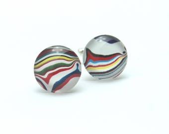 Harley Davidson Fordite Cufflinks Genuine Red White Black Yellow Silver Swirls Him Round Rare Motor City Agate Mens Guys Etsydudes Brother