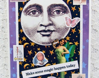 "Magic Greeting Card comes w 1"" Pin Back Button-Full Moon Card-Fairy Card-Mystical Card-Look for the Signs-Magical-Moon Magic-Palmistry"