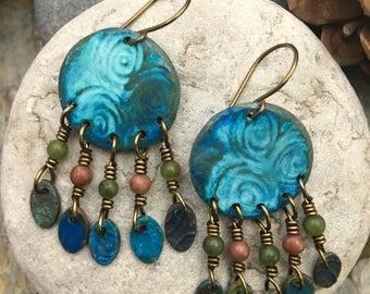 Newgrange Spiral Earrings, Irish Celtic Jewelry, Irish Gypsy Earrings, Boho Earrings, Copper Patina, Spiral Earrings, Dangle Earrings