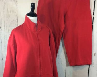 Vintage NORM THOMPSON Red 2 Piece 100% Cotton Jacket & Cropped Pants PJ Lounge Boxy Lagenlook Set Size Lg