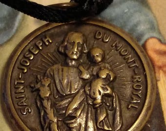 Vintage 1930s Art Deco Saint Joseph and St Christopher Religious Medal Pendant Heavy Worn Rustic