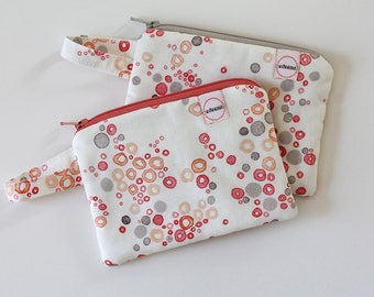coin purse, pocket wallet, change purse, mini zipper pouch, earbud pouch, business card holder, coral gray, id holder, small bag
