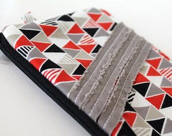 zipper pouch, cash envelope, Eyeglass case, Pen pencil, cash wallet, Cosmetic makeup case, Red bag, sunglasses case, Black triangles, gray