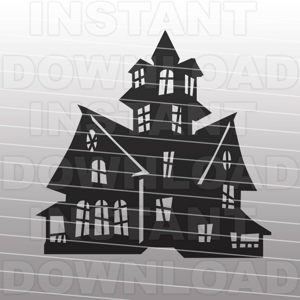 Simple haunted house silhouette