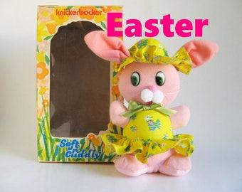 Vintage Easter Bunny Rabbit KNICKERBOCKER Soft n Cuddly 1974 Stuffed Animal Pink in Original Box 1970s Toy Animals of Distinction Plush