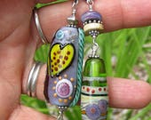 Reserved listing~ Whimsical Heart- lampwork focal bead into a pendant