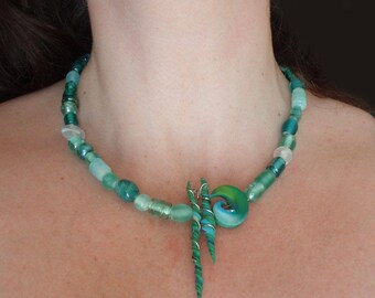 Boho Aqua Necklace Beaded Green Blue Sea Ocean Beach Frosted Glass Polymer Clay Spiral Asymmetrical Unique Wearable Art Handmade Bohemian