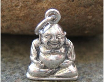 ON SALE TODAY Happy Little Buddha Charm - Silver Buddha Necklace