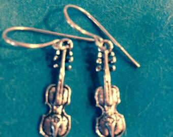 Viola Charm Earrings - Handmade Argentium Sterling ear wires