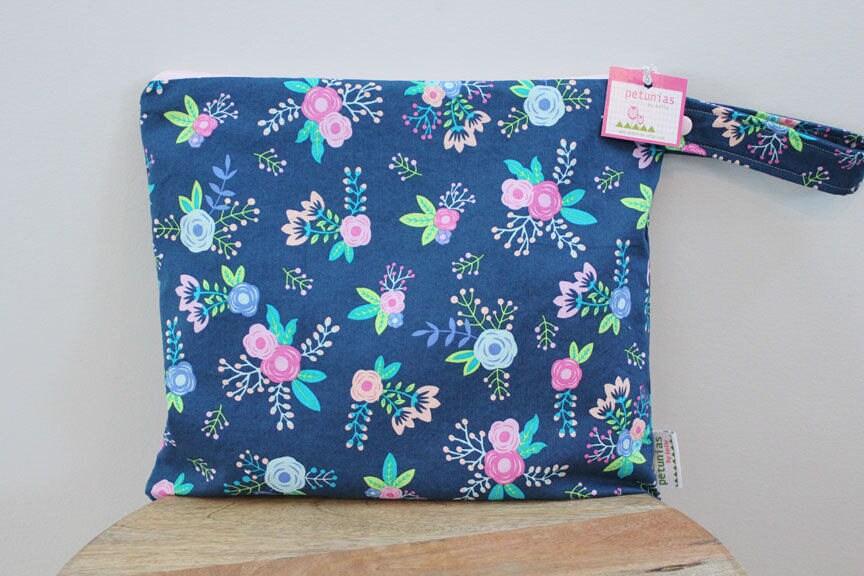 Wet Bag Wetbag Diaper ICKY Proof Navy Floral Gym Swim Cloth Accessories Zipper Gift Newborn Baby Child Kids Summer