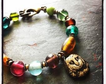 Beaded Bracelet with Owl Charm and Glass Beads