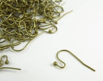 20% Off Sale 11mm x 22mm  Brass Ear wires  100 Pieces - LCJ0JQN-NFAB