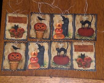 8 Primitive Hang Tags Gift Ties - Halloween - Pumpkin - Spooky Black Cat- Crow - Jack O Lanterns - Ornies - Decorate - Dollies - Critters -