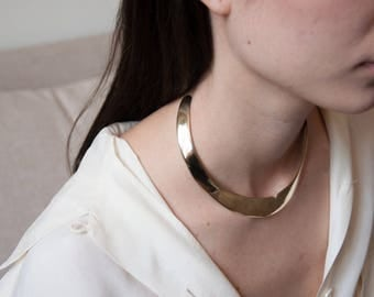 gold collar necklace / thick collar necklace / minimalist collar / 1693a