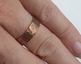 Simple Hammered Copper Ring 2
