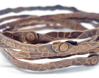 Stacking Geometric Hammered Copper Bangles