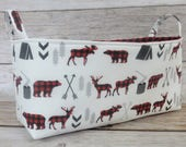 Long Diaper Caddy - Storage Basket Fabric Organizer Bin - Bear Moose Deer Red Black Buffalo Checks Plaid Woodland Trees Camping Arrows