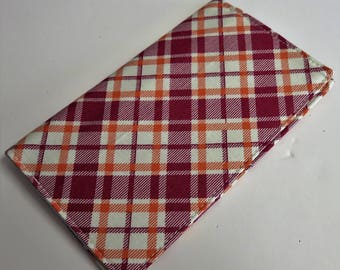 Checkbook Cover Case Cheque Coupons Receipts Check Book Money Holder - Orange Wine Cream Plaid Fabric
