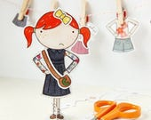SALE Clara Paper Doll - Dress-up Doll - The Signature Outfits - Postcard Paper Toy