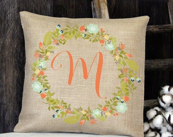 Peach Floral Wreath Monogram burlap throw pillow for your entryway bench front porch rocking chair great wedding or housewarming gift