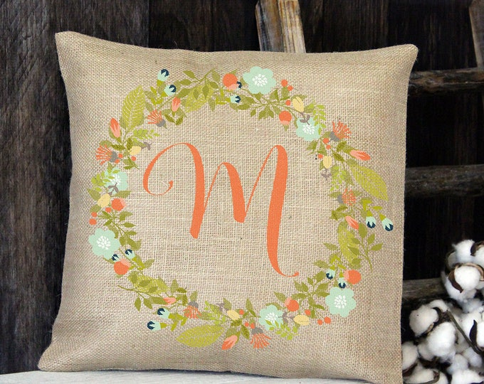 Featured listing image: Peach Floral Wreath Monogram Burlap Throw Pillow
