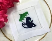 Chinoiserie Monkey with Parasol Embroidered Cocktail Napkins. Set of 4 White Linen. Preppy Bar Car Decor. Hostess Gift. Cocktail Hour.