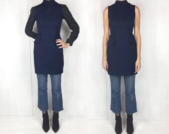 1970s Navy High Neck Sleeveless Mini Dress