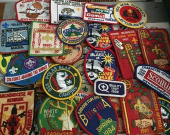 Huge Collection Lot 47 Boy Scout Patches Vintage Mix Lot