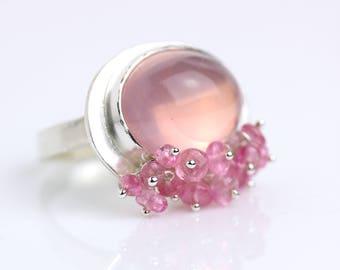 Rose Quartz and Pink Tourmaline Ring. Size 6 1/2.