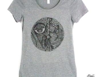 Smiling Sloth Women's Tee Animal Print Hand Screen Printed T Shirt