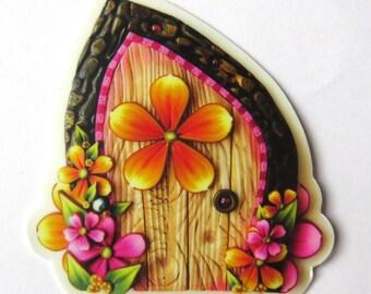 Flower Fairy Door Vinyl Sticker Original Artwork