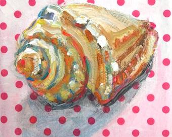 Melonganes Seashell original mixed media still life painting by Polly Jones