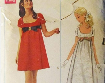 60% OFF SALE 1960s Vintage Sewing Pattern Butterick 4924 Misses' One-Piece Evening Dress Pattern Size 9 Bust 31 1/2