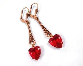 Rhinestone Heart Earrings, Ruby Red Glass Hearts, Vintage Brass and Glass, Long Dangle Earrings, FREE Shipping U.S.