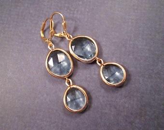 Gold Dangle Earrings, Smokey Blue Bezel Earrings, Long Dangle Earrings, FREE Shipping U.S.